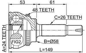 ШРУС наружный TOYOTA Corolla(ZZE122) 1.8 00>/Rav 4 1.8 00>