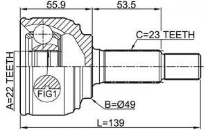 ШРУС наружный NISSAN Note 1.4-1.6 06>/Micra 1.5D-1.6 05>