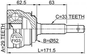 ШРУС наружный CHEVROLET Lanos 1.6 05>, DAEWOO Espero 95-99/Lanos 1.6 97>/Nubira 1.6-2.0 97>