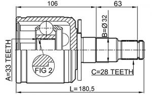 ШРУС наружный MITSUBISHI L200 2.5D-2.6 >95/Pajero 2.5TD-3.0 >91