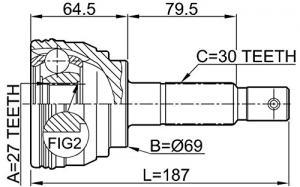 ШРУС наружный TOYOTA Hiace 2.4-2.8 89>/4Runner 2.0-2.4 89-93/Hilux 2.8-3.0 88>